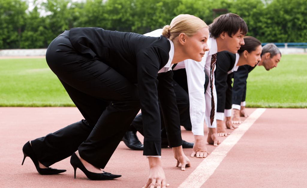 women getting ready to compete against men